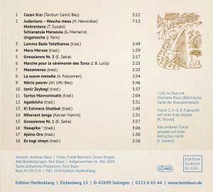 "CD ""Die Harfe im Serail"" Rückseite"